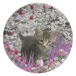 Emma in Flowers I – Little Gray Kitty Cat Plates