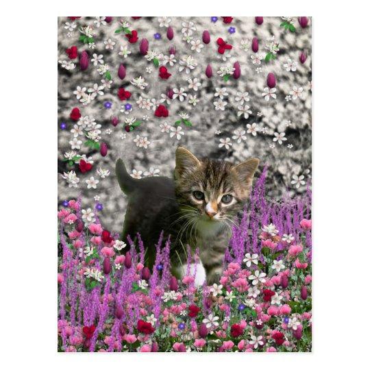 Emma in Flowers I – Little Gray Kitty Cat Postcard