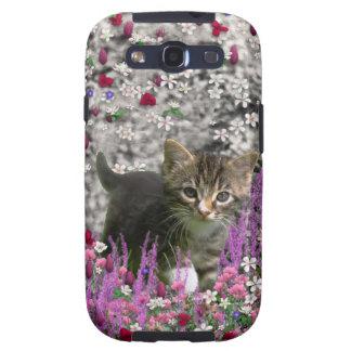 Emma in Flowers I – Little Gray Kitty Cat Samsung Galaxy S3 Case