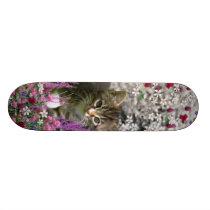 Emma in Flowers I – Little Gray Kitty Cat Skateboard Deck