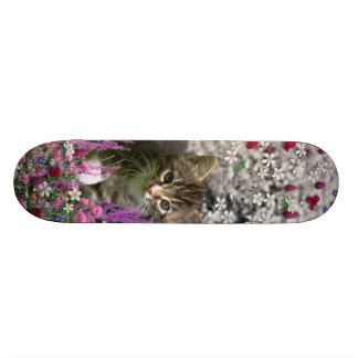 Emma in Flowers I – Little Gray Kitty Cat Skateboard Deck