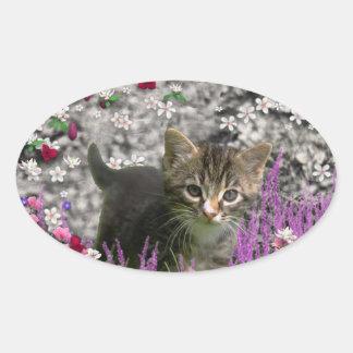 Emma in Flowers I – Little Gray Kitty Cat Oval Sticker