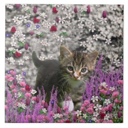 Emma in Flowers I – Little Gray Kitty Cat Ceramic Tiles