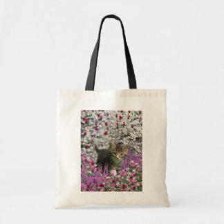 Emma in Flowers I – Little Gray Kitty Cat Tote Bag