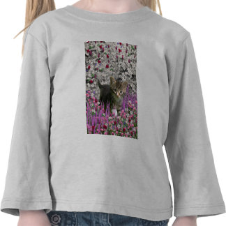 Emma in Flowers I – Little Gray Kitty Cat Tshirts
