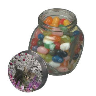 Emma in Flowers I – Little Gray Tabby Kitten Glass Candy Jars