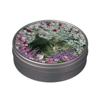 Emma in Flowers I – Little Gray Tabby Kitten Jelly Belly Tins