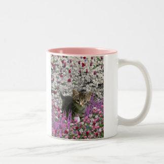 Emma in Flowers I – Little Gray Tabby Kitten Two-Tone Coffee Mug