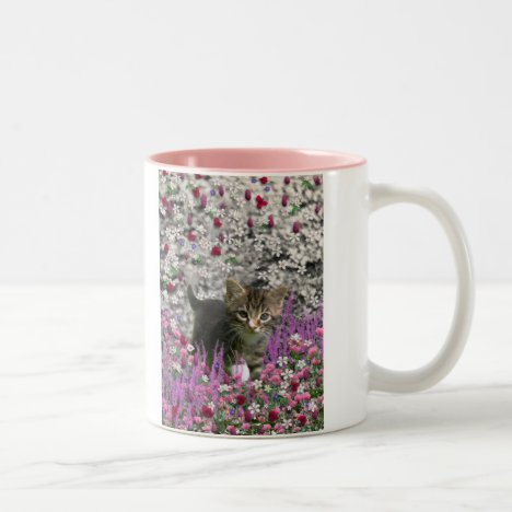 Emma in Flowers I – Little Gray Tabby Kitten Two-Tone Coffee Mug