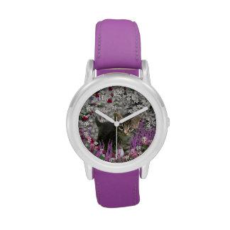 Emma in Flowers I – Little Gray Tabby Kitten Wristwatches