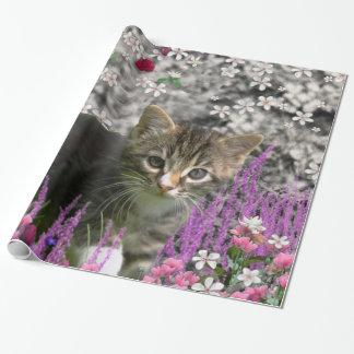 Emma in Flowers I – Little Gray Tabby Kitten Gift Wrap