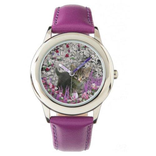 Emma in Flowers I – Little Gray Tabby Kitten Wrist Watch