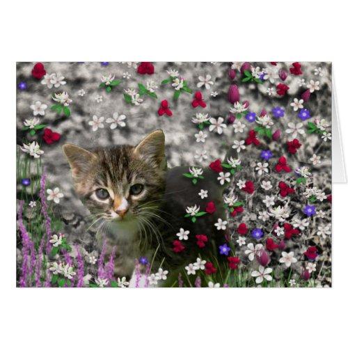 Emma in Flowers II, Little Gray Tabby Kitty Cat