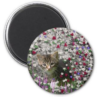 Emma in Flowers II, Little Gray Tabby Kitty Cat 2 Inch Round Magnet