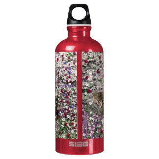 Emma in Flowers II, Little Gray Tabby Kitty Cat Aluminum Water Bottle