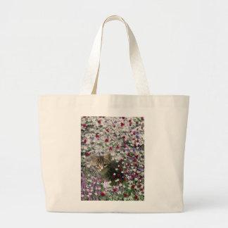 Emma in Flowers II, Little Gray Tabby Kitty Cat Canvas Bag