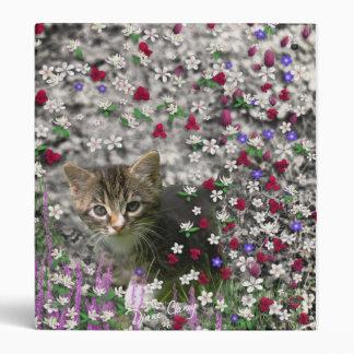Emma in Flowers II, Little Gray Tabby Kitty Cat Binder