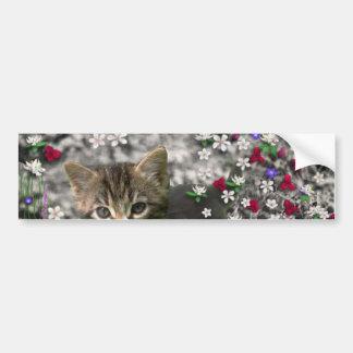 Emma in Flowers II, Little Gray Tabby Kitty Cat Bumper Sticker