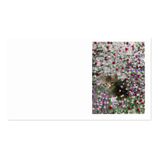 Emma in Flowers II, Little Gray Tabby Kitty Cat Business Card