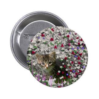 Emma in Flowers II, Little Gray Tabby Kitty Cat Button