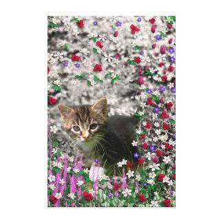 Emma in Flowers II, Little Gray Tabby Kitty Cat Canvas Print