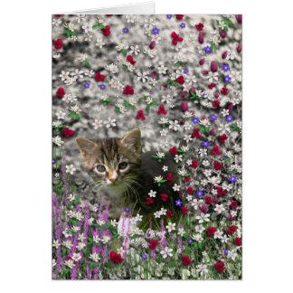 Emma in Flowers II, Little Gray Tabby Kitty Cat Greeting Card