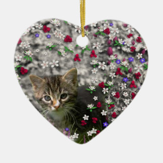 Emma in Flowers II, Little Gray Tabby Kitty Cat Ceramic Ornament