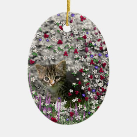 Emma in Flowers II, Little Gray Tabby Kitty Cat Ceramic Ornament