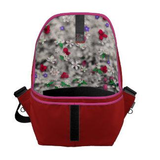 Emma in Flowers II, Little Gray Tabby Kitty Cat Courier Bag