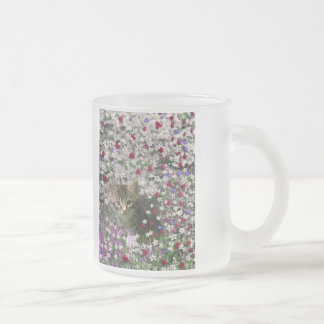 Emma in Flowers II, Little Gray Tabby Kitty Cat Frosted Glass Coffee Mug