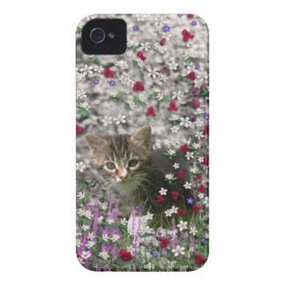 Emma in Flowers II, Little Gray Tabby Kitty Cat iPhone 4 Case-Mate Case