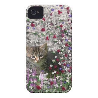 Emma in Flowers II, Little Gray Tabby Kitty Cat iPhone 4 Cover