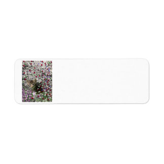 Emma in Flowers II, Little Gray Tabby Kitty Cat Label