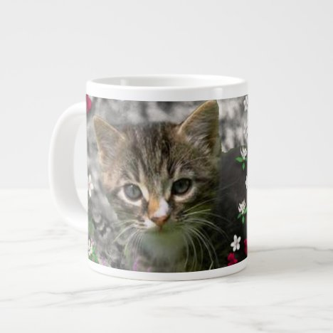 Emma in Flowers II, Little Gray Tabby Kitty Cat Large Coffee Mug