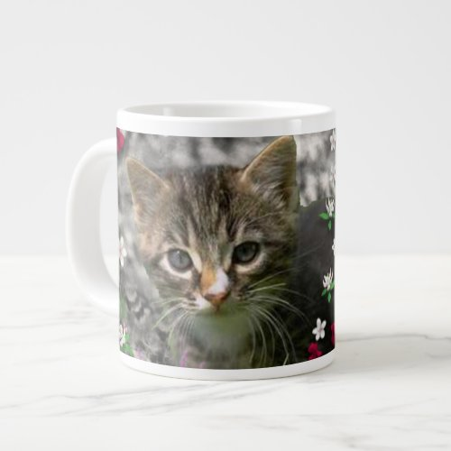 Emma in Flowers II, Little Gray Tabby Kitty Cat Large Coffee Mug