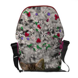 Emma in Flowers II, Little Gray Tabby Kitty Cat Messenger Bags