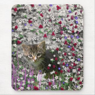 Emma in Flowers II, Little Gray Tabby Kitty Cat Mouse Pad