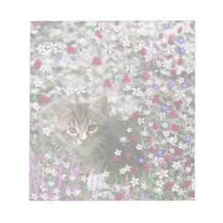 Emma in Flowers II, Little Gray Tabby Kitty Cat Notepad
