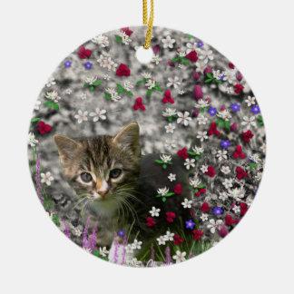 Emma in Flowers II, Little Gray Tabby Kitty Cat Christmas Ornament