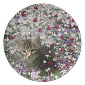 Emma in Flowers II, Little Gray Tabby Kitty Cat Dinner Plates