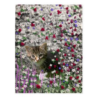 Emma in Flowers II, Little Gray Tabby Kitty Cat Postcard