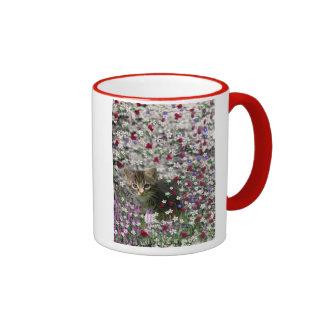 Emma in Flowers II, Little Gray Tabby Kitty Cat Ringer Mug