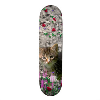 Emma in Flowers II, Little Gray Tabby Kitty Cat Skateboard
