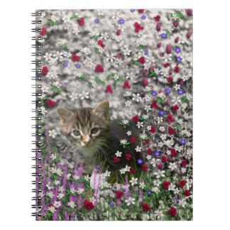 Emma in Flowers II, Little Gray Tabby Kitty Cat Spiral Notebook