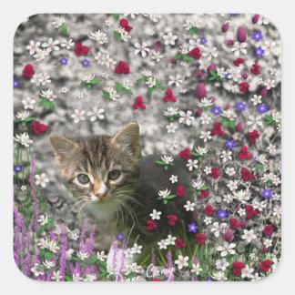 Emma in Flowers II, Little Gray Tabby Kitty Cat Square Sticker