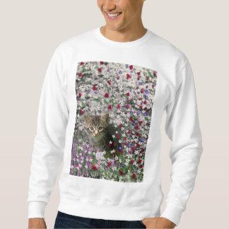 Emma in Flowers II, Little Gray Tabby Kitty Cat Sweatshirt