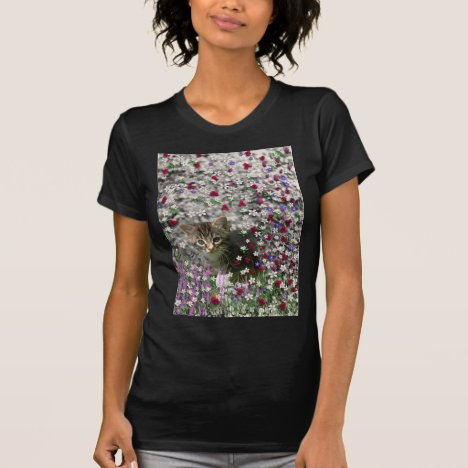 Emma in Flowers II, Little Gray Tabby Kitty Cat T-Shirt