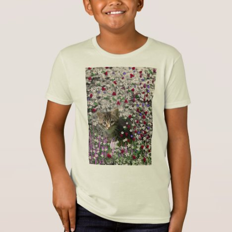 Emma in Flowers II, Little Gray Tabby Kitty Cat T-Shirt