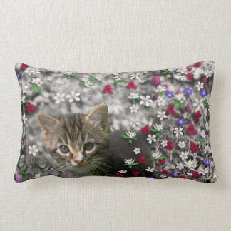 Emma in Flowers II, Little Gray Tabby Kitty Cat Throw Pillow