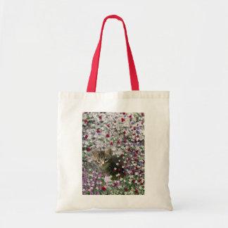 Emma in Flowers II, Little Gray Tabby Kitty Cat Tote Bag